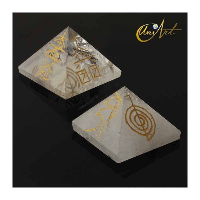 Pirámide de cuarzo con símbolos Reiki - Cuarzo cristal