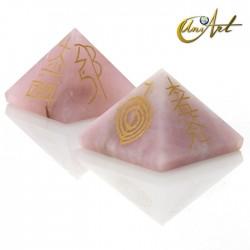 Pirámide de cuarzo con símbolos Reiki - Cuarzo rosa