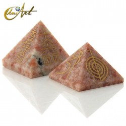 Pyramid with 4 Reiki symbols engraved - Sunstone