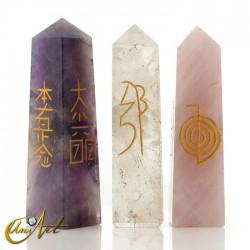 Obelisco conductor Reiki en cuarzo