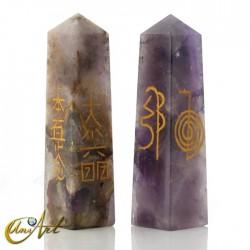 Obelisco conductor Reiki en cuarzo - Amatista