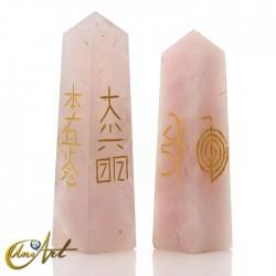 Obelisco conductor Reiki en cuarzo - Cuarzo rosa