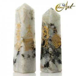 Conductor forma obelisco con símbolos Reiki - Piedra Luna