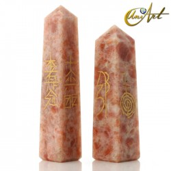 Obelisk form conductor with Reiki symbols - Sun stone
