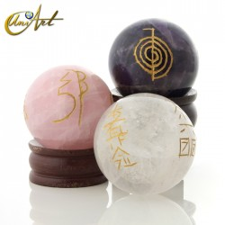 Quartz sphere with Reiki symbols