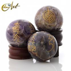 Esfera de cuarzo con símbolos Reiki - Amatista