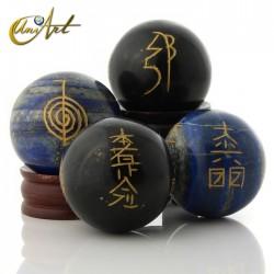 Tourmaline or Lapis Lazuli sphere with Reiki symbols