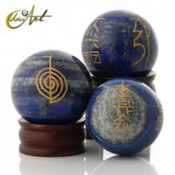 Tourmaline or Lapis Lazuli sphere with Reiki symbols - Lapis lazuli