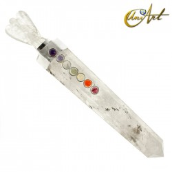 Stone Healing Wand with angel and Chakras´stones - Crystal Quartz