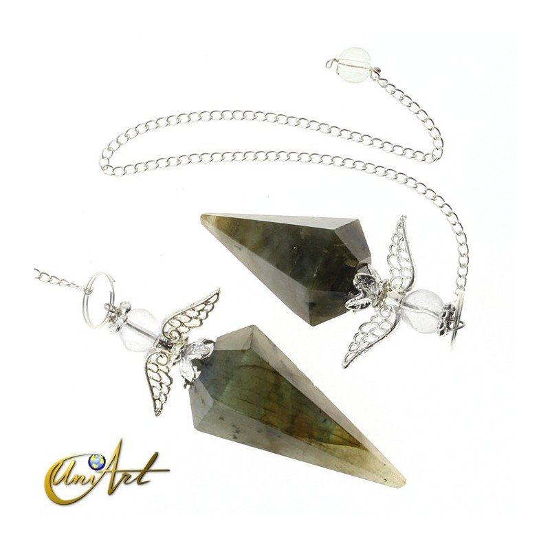 6 facets mineral Pendulum with angel - Labradorite