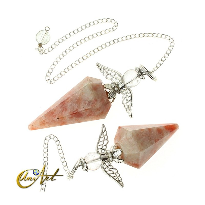 6 facets mineral Pendulum with angel - Sun stone