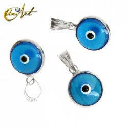 10 mm Turkish Eye in siver and lampwork -blue