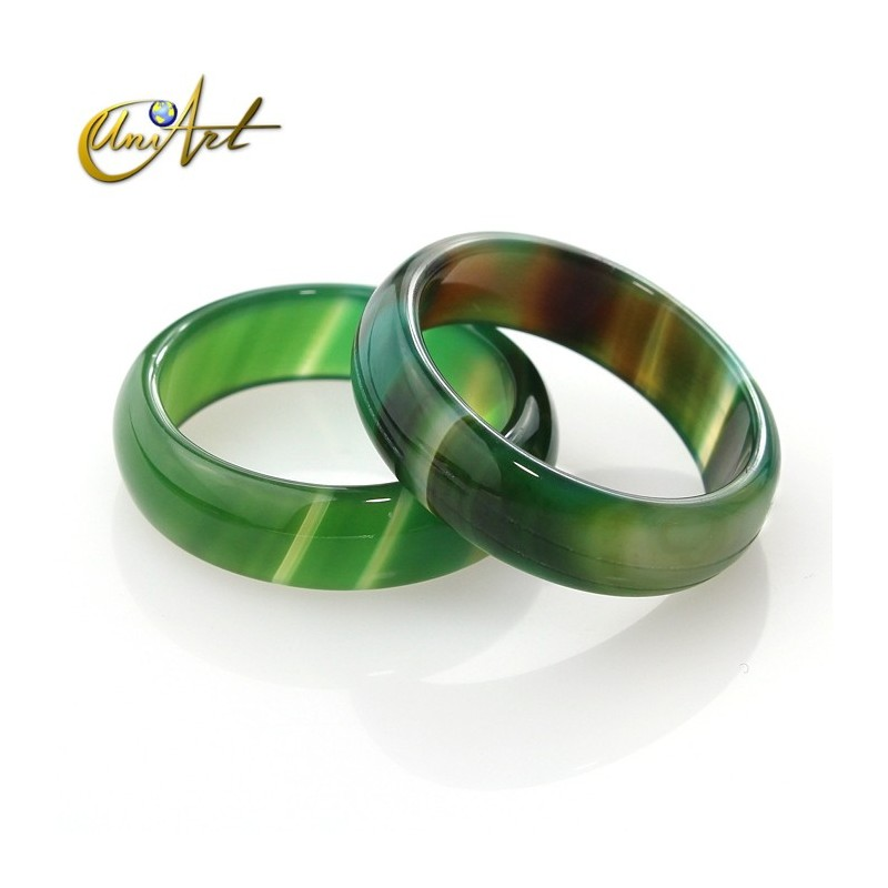 Olive green agate  - median ring