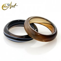 Banded black agate ring