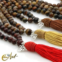 Hawk, ox or tiger eye Buddhist Mala with OM