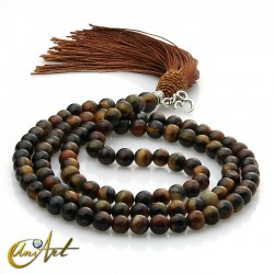Hawk eye Buddhist Mala with OM