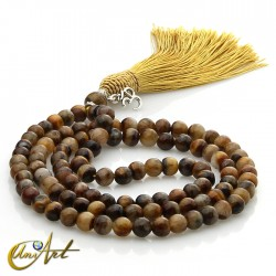 Tiger eye Buddhist Mala with OM