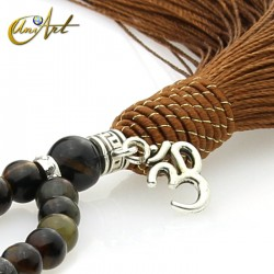 Japa Mala of tiger, hawk or ox eye - 6 mm