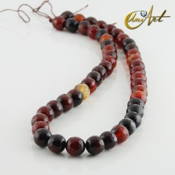 Strands of brown agate faceted round beads