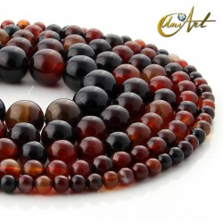 Brown agate round beads