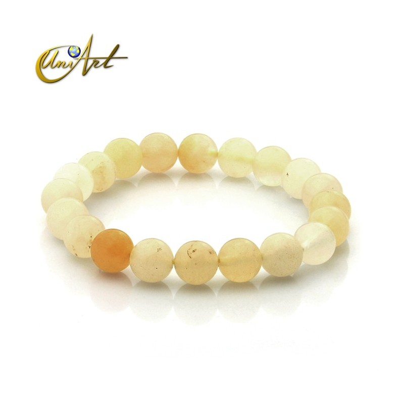 10 mm Beads yellow jade bracelet