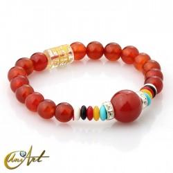 Carnelian bracelet with mantra, small