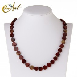 Heart necklace in red jasper