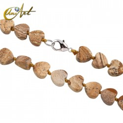 Heart necklace in picture jasper