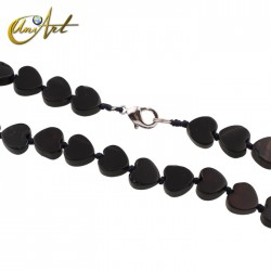 Heart necklace in black agate