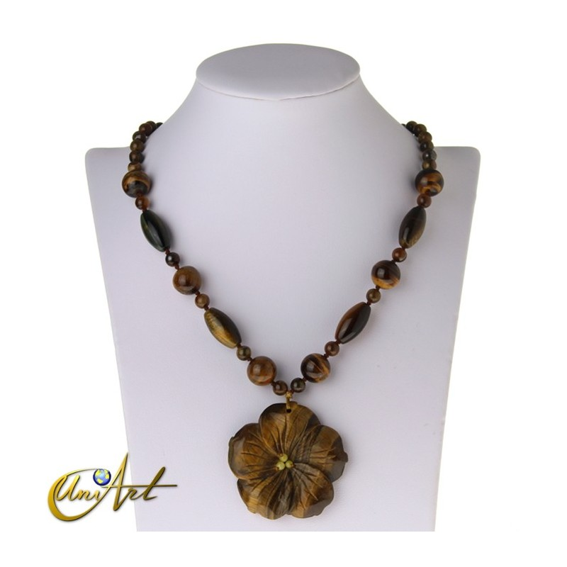 Tiger eye necklace with flower pendant