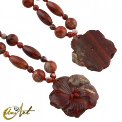 Red jasper necklace with flower pendant
