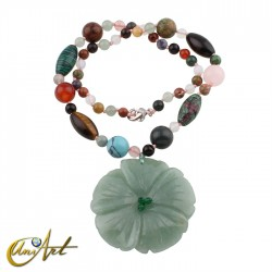 Mixed stone necklace with flower pendant