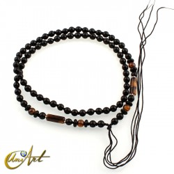 Black beads and tiger eye hanging necklace