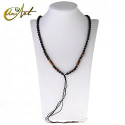 Onyx and tiger eye hanging necklace