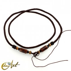 Polyamide cord with agate and tiger eye - model 1