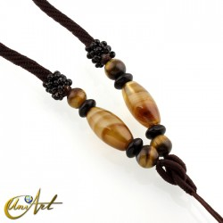 Polyamide cord with agate and tiger eye - model 2