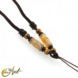 Polyamide cord with agate and tiger eye - model 3