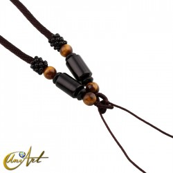 Polyamide cord with agate and tiger eye - model 4