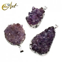Amethyst pendant druse silver plated