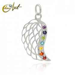 Angel wing in silver, pendant of the chakras
