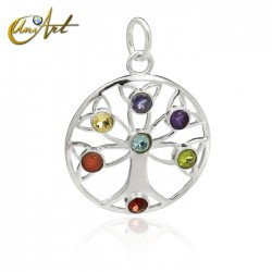 Celtic tree of life with the stones of the chakras in silver