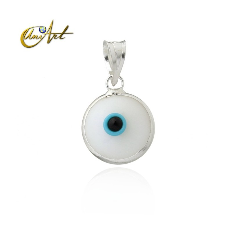 10 mm Turkish Eye in siver and lampwork - white