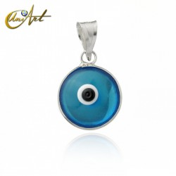 10 mm Turkish Eye in siver and lampwork - blue