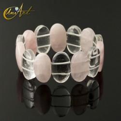 Pulsera Modelo Ovales - cuarzo rosa