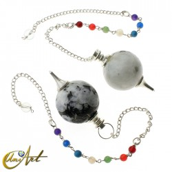Ball pendulums with chakras chain - moon stone