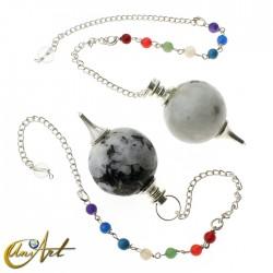 Péndulo bola con cadena de los chakras - piedra luna