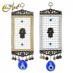 Turkish evil eye amulet with Hamsa and trellis