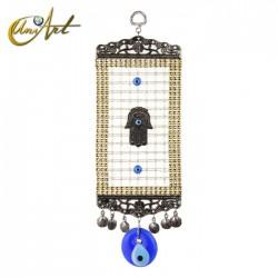 Amuleto Ojo Turco con entramado y Hamsa - modelo 1