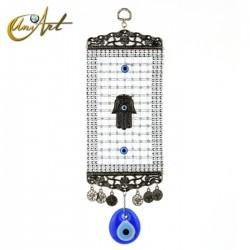 Amuleto Ojo Turco con entramado y Hamsa - modelo 2