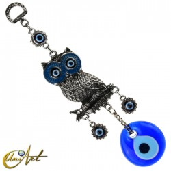 Owl with Turkish evil eye, talisman - blue